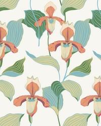 Lady Slipper Wallpaper Orange Blue by