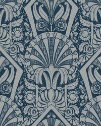 Zelda Wallpaper Navy Silver by