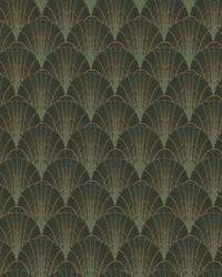 Scalloped Pearls Wallpaper Black Gold by
