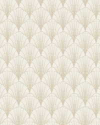 Scalloped Pearls Wallpaper White Gold by