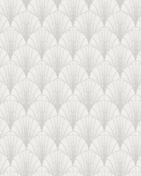 Scalloped Pearls Wallpaper White Silver by