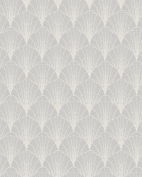 Scalloped Pearls Wallpaper Gray White by