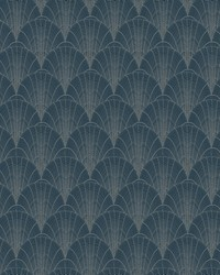 Scalloped Pearls Wallpaper Navy Silver by