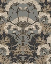 Yarrow Nouveau Wallpaper Charcoal Gold by