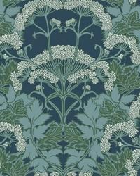 Yarrow Nouveau Wallpaper Blue Green by
