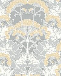 Yarrow Nouveau Wallpaper Gray Yellow by