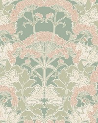 Yarrow Nouveau Wallpaper Green Peach by