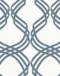 Dante Ribbon Wallpaper White Navy by