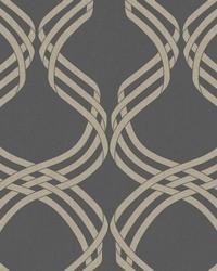 Dante Ribbon Wallpaper Charcoal Glint by