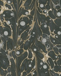 Marbled Endpaper Wallpaper Black Gold by
