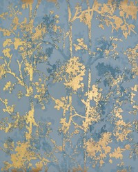 Shimmering Foliage Wallpaper Blue Gold by