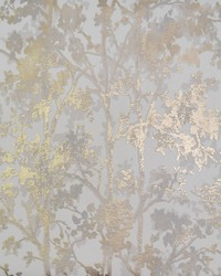 Shimmering Foliage Wallpaper White Gold by