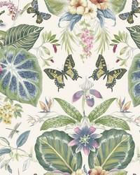 Tropical Butterflies Wallpaper Navy Plum by