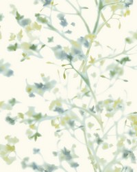 Sunlit Branches Wallpaper Green Blue by