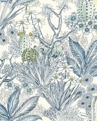 Flowering Desert Wallpaper Blue by