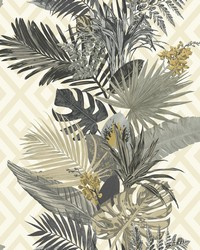 Tropical Oasis Stripe Wallpaper Neutral by
