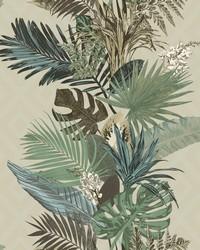 Tropical Oasis Stripe Wallpaper Pebble by