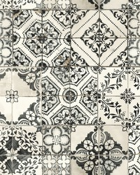 Mediterranean Tile Wallpaper Black by