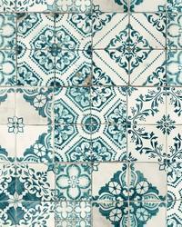 Mediterranean Tile Wallpaper Teal by
