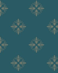 Honey Bee Wallpaper Gold Teal by
