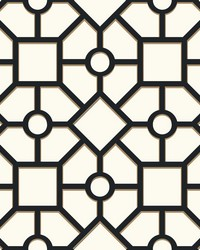 Hedgerow Trellis Wallpaper Black Gold by