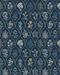 Hawthorne Wallpaper Navy Gold by