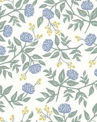 Peonies Wallpaper Periwinkle Sage by