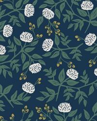 Peonies Wallpaper Navy by