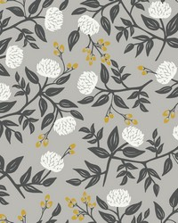 Peonies Wallpaper Gray by