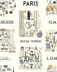 City Maps Wallpaper Gray Gold by