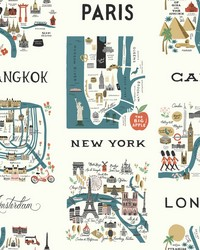City Maps Wallpaper Blue Red by