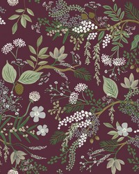 Juniper Forest Wallpaper Burgundy by