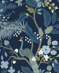 Peacock Wallpaper Navy by