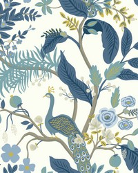 Peacock Wallpaper Blue White by