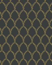 Laurel Wallpaper Gold Black by