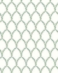 Laurel Wallpaper Green White by