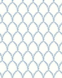 Laurel Wallpaper Blue White by