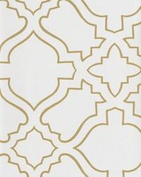 Arabesque Wallpaper white  metallic gold by