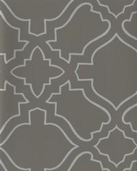 Arabesque Wallpaper dark grey  metallic silver by