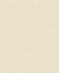 Concentric Wallpaper - Beige W Iridescent White Off Whites by