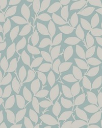 Leaf and Vine Wallpaper - Silver Blue Metallics by