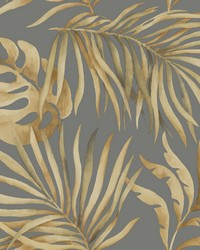 Paradise Palm Wallpaper Gold Charcoal by