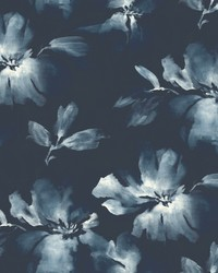 Midnight Blooms Wallpaper Navy blue by