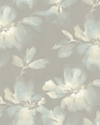 Midnight Blooms Wallpaper Lt Blue Grey by