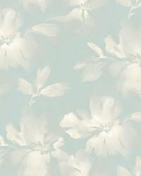 Midnight Blooms Wallpaper Light Blue by