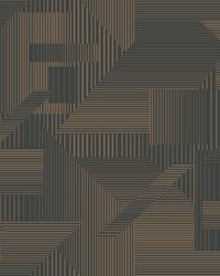 All Lined Up Wallpaper Black Gold by