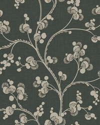 Dahlia Trail Wallpaper Black Taupe by