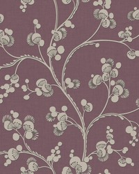 Dahlia Trail Wallpaper Mulberry by