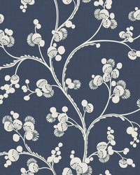 Dahlia Trail Wallpaper Navy by