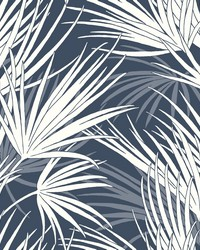 Palmetto Wallpaper Navy White by